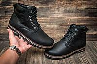 Зимние ботинки мужские черные, натуральная кожа
