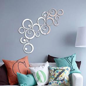 24pcs круг наклейки 3D DIY домашнего декора ТВ стикер стены украшения стены зеркало, фото 2
