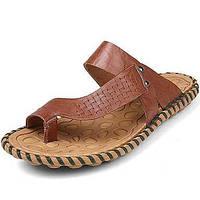 -Для мужчин-Для прогулок Повседневный-Наппа Leather-На плоской подошве-Удобная обувь-Тапочки и Шлепанцы 05118399