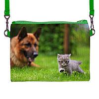 Детская сумочка для девочки с принтом Кошка с собакой