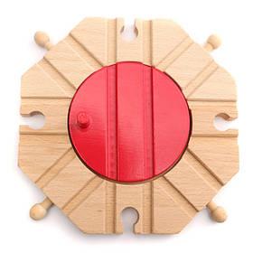 Деревянный поезд набор трек круговая вертушка развивающие игрушки