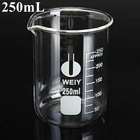 250 мл из боросиликатного стекла градуированный стакан мерной стеклянной посуды для лаборатории