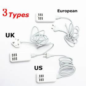 США Великобритании ЕС переменного тока 6 Порт USB зарядное устройство 1.4 м с кабелем питания