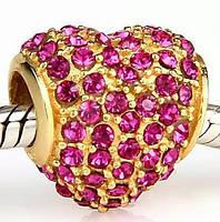 """Шарм бусина Pandora (Пандора) """"Золотое сердце с розовыми кристалами"""""""