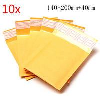 10шт 140*200мм+40мм пузырь конверт желтый цвет Kraft бумажный конверт почтовые программы