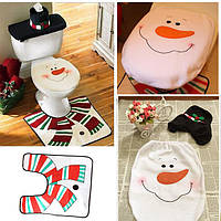 3шт Рождественский снеговик крышка унитаза установить коврик ванной Closestool крышка ковер