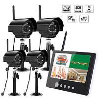 Эннио sy903e14 9inch ЖК-монитор DVR комплект беспроводной системы домашней безопасности, видеонаблюдения с четырьмя цифровыми камерами