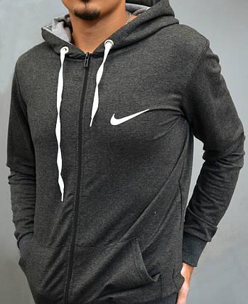 Кофта спортивна на замку з капішоном Nike - темно-сіра, фото 2