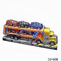 Трейлер машина-транспортер инерционный214A (72шт/2) 2-х этаж.,  5 машинок,  под слюдой 32*6 см.