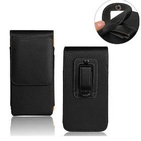 Личи зерна черный универсальный поясная сумка пу кожаный чехол для телефона под 5.2 дюйма
