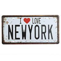 Нью-Йорк номерной знак олова старинные металлические бляшки декор плакат паб в стены дома