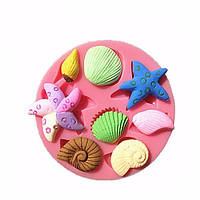 3D Силиконовый Морские раковины Морская рыба Море Улитка Фонтант Торт Шоколадная форма Молдинг Торт Украшение