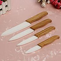 4 шт бамбуковой ручкой Белый Клинок Кухня Керамический нож Набор фруктов нож С 4 оболочках