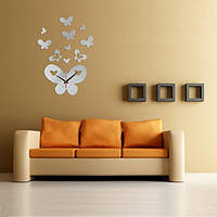 DIY 3d Большая Бабочка Часы настенные зеркало искусства акриловые домашний декор