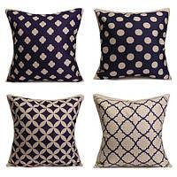 Синий геометрические хлопок льняная подушки случаев талии подушке покрытия дома диван декор