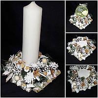Стильный подсвечник под большую свечу из натуральных материалов, 10х24х24 см, 190/170 (цена за 1 шт. + 20 гр.)