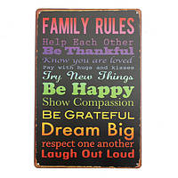 Семейные правила 2 ретро покраска металла листового металла рисунок дома плакат знак олова стены декор
