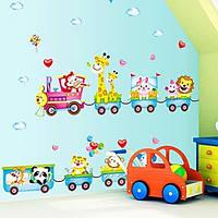 Прекрасный мультфильм поезд с животными съемный стикер стены для спальни детей