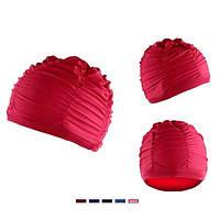 Женщина складчатых шапочка для плавания шапочки для купания банные шапки