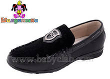 Туфли кожаные на мальчика Шалунишка 34,35,36 р черные арт 5801 .