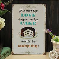 Люблю торт листового металла Рисунок ретро покраска металла паб клуб кафе плакат знак олова декор