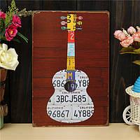 Гитара листового металла Рисунок ретро металлический паб клуб таверна кафе магазин плакат знак олово декор