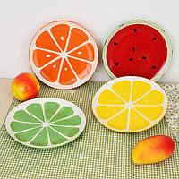 Прекрасные ручной росписи пластины фруктов арбуз лимон керамическая плита творческие посуда