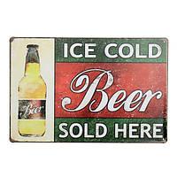 Холодное пиво льда здесь олово знак Ретро металлический налет плакат бар паб дома стены декор