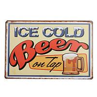 Лед холодное пиво олова знак Ретро металлический налет плакат бар паб дома стены декор
