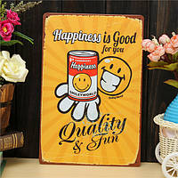 Счастье листового металла рисунок покраска металла олова магазин паб стены таверна плакат знак