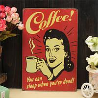 Кофе листового металла рисунок покраска металла олова магазин паб стены таверна плакат знак