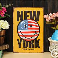 Нью-Йорк листового металла рисунок покраска металла олова магазин паб стены таверна плакат знак