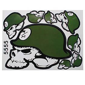 Зеленый скелет головы шлем мотоцикла декоративные наклейки