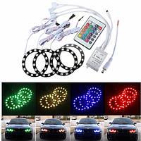 5050 15smd 70 мм rgb LED гало кольцо ангел глаза лампы автомобиля света с пультом дистанционного управления