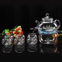 Высокая температура на 600 мл стойкая стеклянная цветочная кружка чая установила 6 теплее чаев чайных чашек