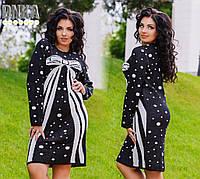Теплое платье больших размеров, рисунок бант / 2 цвета арт 3146-1