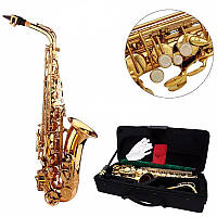 LADE Alto Eb Золотой саксофон Sax Paint Gold с Чехол и аксессуары