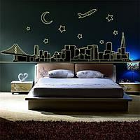 Ночной вид стены наклейки искусства флуоресценции ночь свечение Термоаппликации mural декор стен