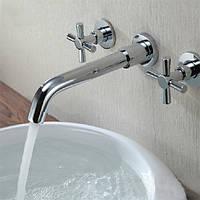 Хромированные латунные современные настенные 3 отверстия смеситель для ванны кран