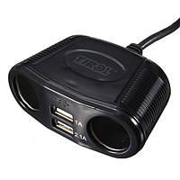 Двойной адаптер зарядного устройства USB-портов + 2 пути автомобильный разделитель гнезда прикуривателя