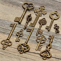 11pcs год сбора винограда антиквариата старый ключ взгляд скелет набор кулон сердце лук стимпанк замок