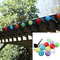 10 LED солнечной энергии белые или разноцветные китайский фонарь сада струнные светильники
