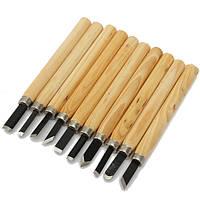10шт резьба по дереву стамеска набор из высокоуглеродистой стали с деревянной ручкой