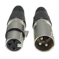 Мужские и женские 3-контактный XLR микрофон аудио кабель разъемы