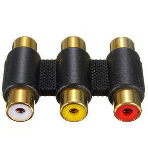 3 головки золотой тройной RCA женский женский разъем аудио-видео адаптер, фото 2