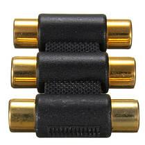 3 головки золотой тройной RCA женский женский разъем аудио-видео адаптер, фото 3