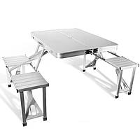 Открытый алюминиевый складной стол комплект Складная Рабочий стол 4 стула для кемпинга походы пикника барбекю
