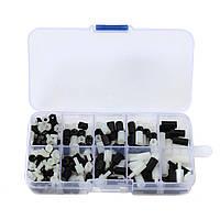 Suleve ™ M3NH10 M3 Nylon Hex Болт Ассортимент подставки для держателей орехов Набор Коробка Черный и белый 300 шт.
