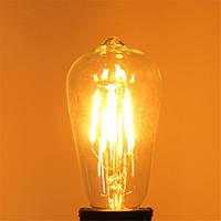St58 E27 4W теплый белый 400lm початка LED нить ретро щелочных луковицы 110-240