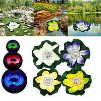 Солнечная изменения цвета LED цветок лотоса лампы с плавающей пруд лампы сад бассейн свет